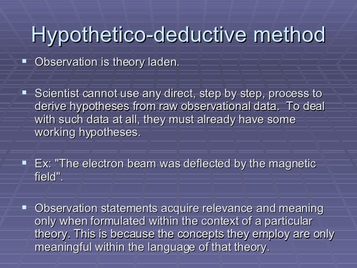 hypothetico deduction method The method particularly associated with a philosophy of science that stresses the  virtues of falsification most simply, a hypothesis is proposed, and.
