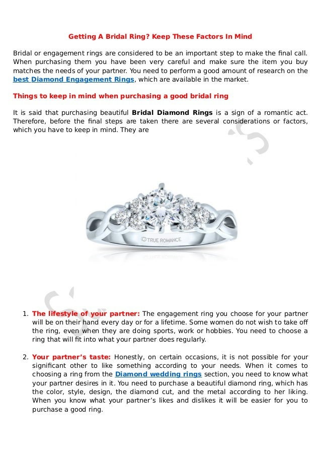 Getting A Bridal Ring? Keep These Factors In Mind Bridal or engagement rings are considered to be an important step to mak...