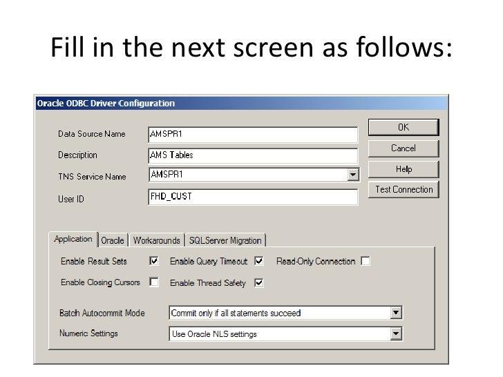 Fill in the next screen as follows: