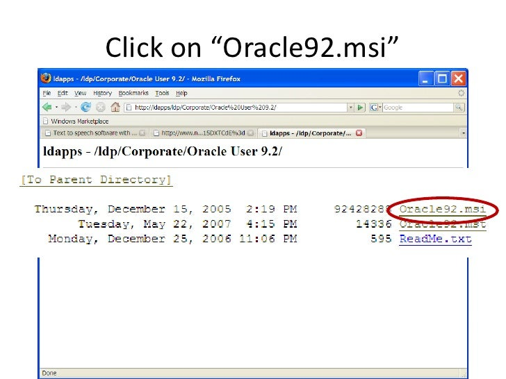 """Click on """"Oracle92.msi"""""""