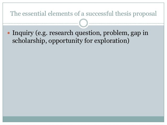 Elements of a thesis proposal