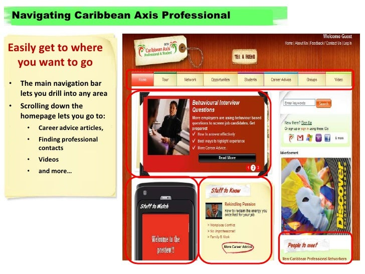 Navigating Caribbean Axis Professional<br />Easily get to where you want to go<br /><ul><li>The main navigation bar lets y...