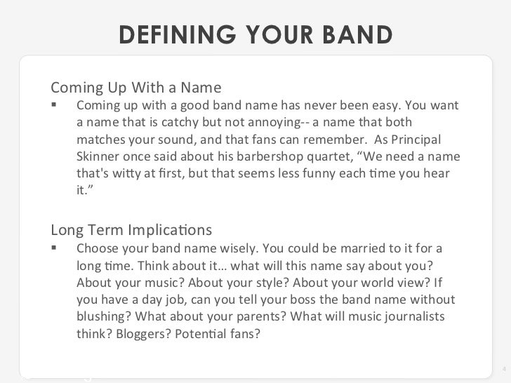 Getting Your Band Name Right