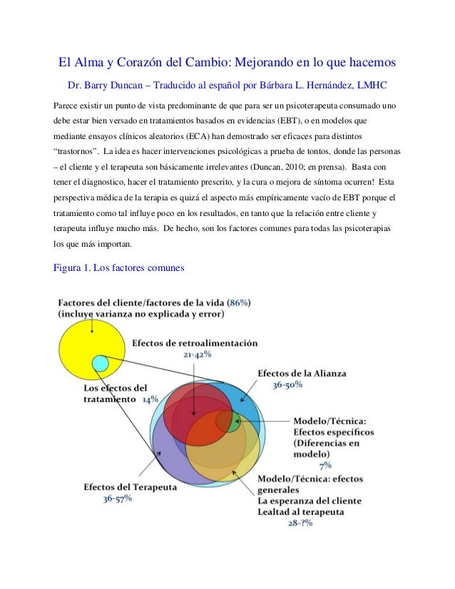El Alma y Corazón del Cambio: Mejorando en lo que hacemos Dr. Barry Duncan – Traducido al español por Bárbara L. Hernández...