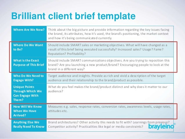 Getting brilliant briefs from your client emotional and functional benefits 25 brilliant client brief template pronofoot35fo Gallery