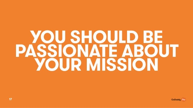 YOU SHOULD BE PASSIONATE ABOUT YOUR MISSION 17