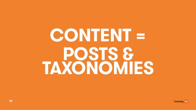 CONTENT = POSTS & TAXONOMIES 19