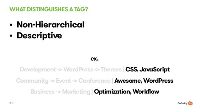 WHAT DISTINGUISHES A TAG? 54 • Non-Hierarchical • Descriptive 