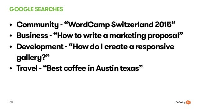 "GOOGLE SEARCHES 70 • Community - ""WordCamp Switzerland 2015"" • Business - ""How to write a marketing proposal"" • Developmen..."