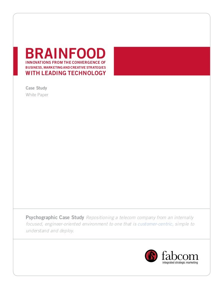BRAINFOODINNOVATIONS FROM THE CONVERGENCE OFBUSINESS, MARKETING AND CREATIVE STRATEGIESWITH LEADING TECHNOLOGYCase StudyWh...