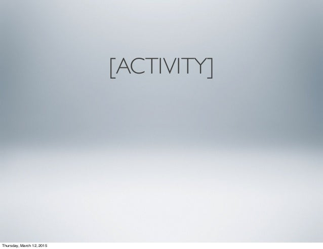 [ACTIVITY] Thursday, March 12, 2015