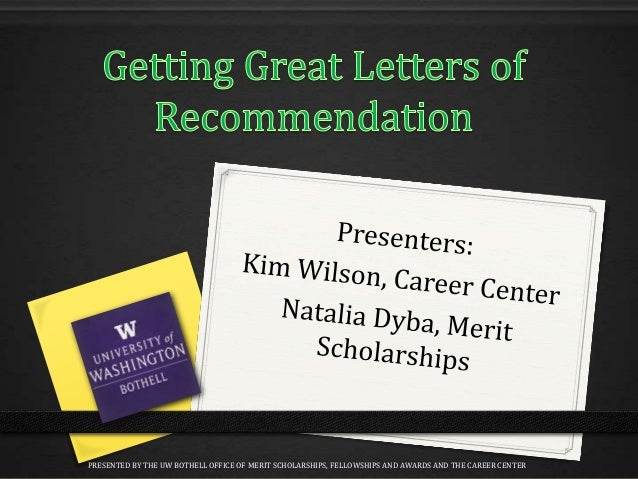 PRESENTED BY THE UW BOTHELL OFFICE OF MERIT SCHOLARSHIPS, FELLOWSHIPS AND AWARDS AND THE CAREER CENTER