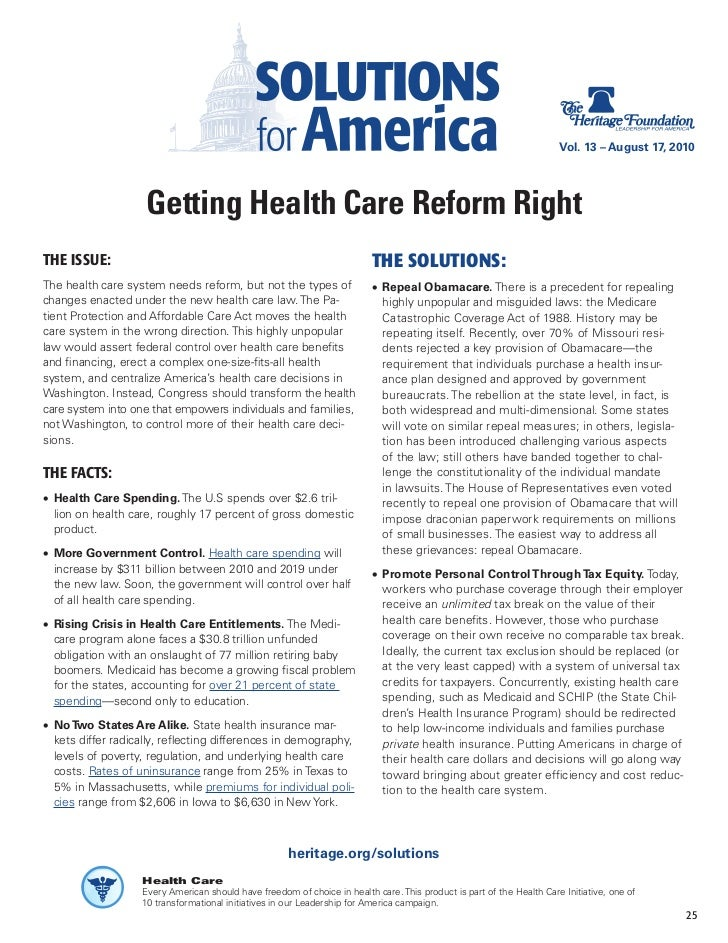 Vol. 13 – August 17, 2010                         Getting Health Care Reform Right THE ISSUE:                             ...