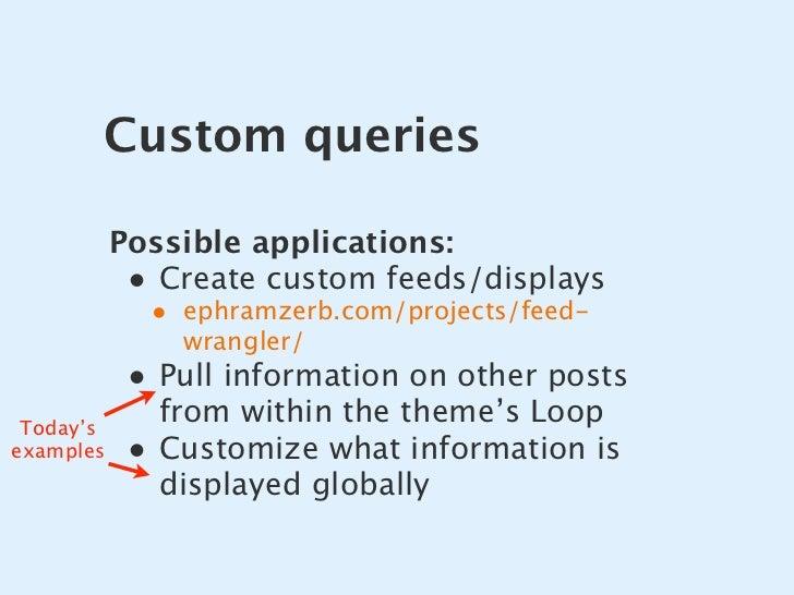 Custom queries             Possible applications:             • Create custom feeds/displays              • ephramzerb.com...