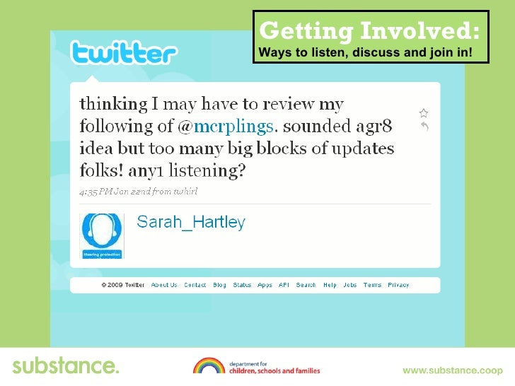 Getting Involved: Ways to listen, discuss and join in!