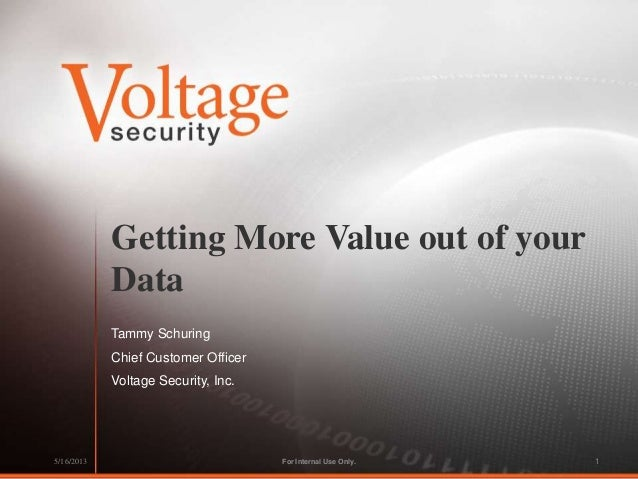Getting More Value out of yourDataTammy SchuringChief Customer OfficerVoltage Security, Inc.For Internal Use Only.5/16/201...