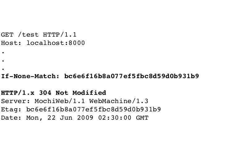 GET /test HTTP/1.1 Host: localhost:8000 . . . If-None-Match: bc6e6f16b8a077ef5fbc8d59d0b931b9  HTTP/1.x 304 Not Modified S...