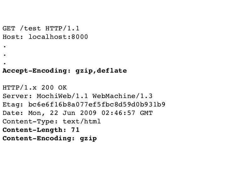 GET /test HTTP/1.1 Host: localhost:8000 . . . Accept-Encoding: gzip,deflate  HTTP/1.x 200 OK Server: MochiWeb/1.1 WebMachi...