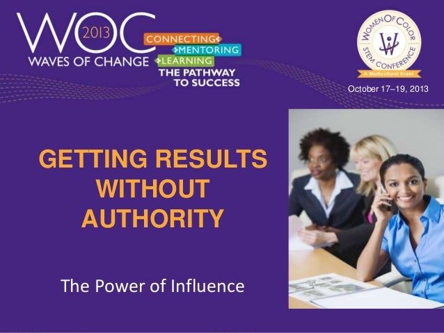 October 17–19, 2013  GETTING RESULTS WITHOUT AUTHORITY The Power of Influence