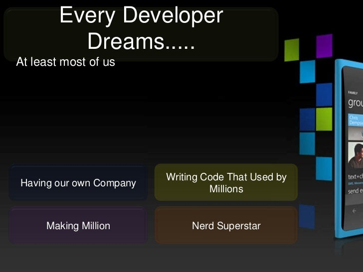 Every Developer          Dreams.....At least most of us                         Writing Code That Used byHaving our own Co...