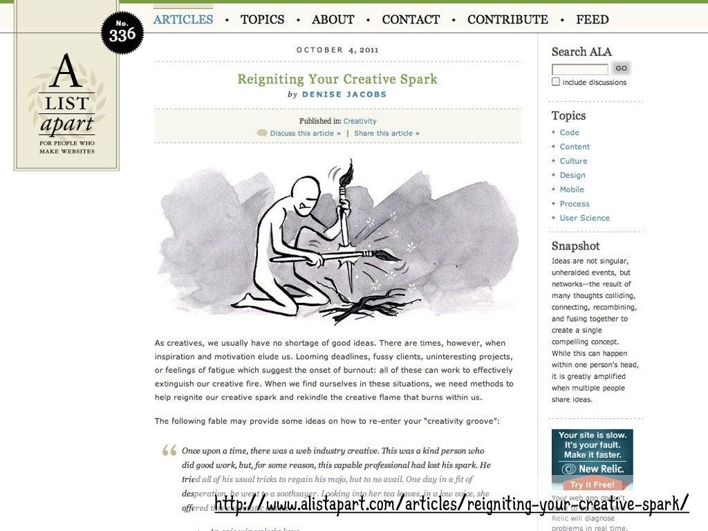 A LIST APART• Demos, examples,