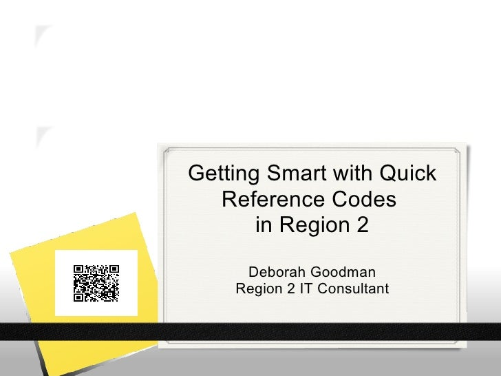Getting Smart with Quick   Reference Codes       in Region 2     Deborah Goodman    Region 2 IT Consultant