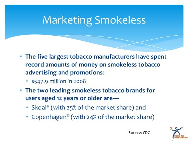 marketing and tobacco products Cities, humans, marketing, tobacco, smokeless, united states abstract introduction: this exploratory study was designed to assess the availability, price, and point-of-purchase marketing strategies for new smokeless tobacco products in 4 test market areasmethods: a random sample of 50 gas stations, convenience and food stores, and tobacco.