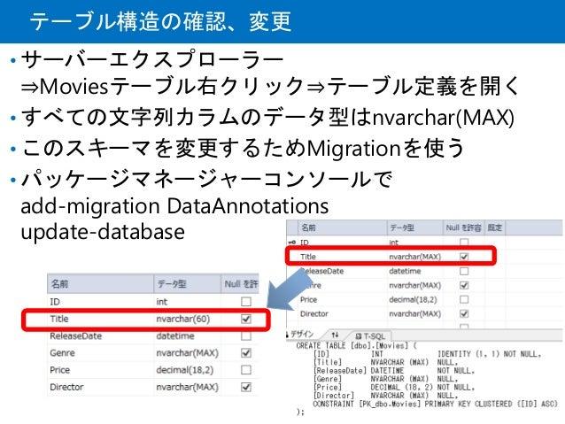 テーブル構造の確認、変更 • サーバーエクスプローラー ⇒Moviesテーブル右クリック⇒テーブル定義を開く • すべての文字列カラムのデータ型はnvarchar(MAX) • このスキーマを変更するためMigrationを使う • パッケージ...