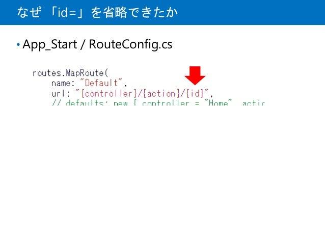 なぜ 「id=」を省略できたか • App_Start / RouteConfig.cs