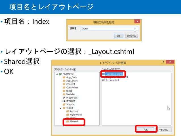 項目名とレイアウトページ • 項目名:Index • レイアウトページの選択:_Layout.cshtml • Shared選択 • OK