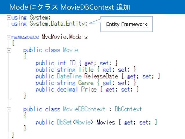 Modelにクラス MovieDBContext 追加 Entity Framework