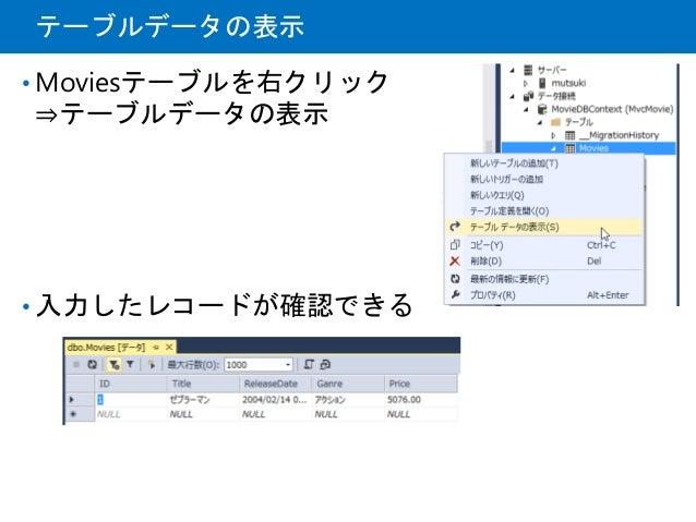 テーブルデータの表示 • Moviesテーブルを右クリック ⇒テーブルデータの表示 • 入力したレコードが確認できる