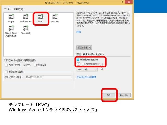 テンプレート「MVC」 Windows Azure「クラウド内のホスト:オフ」