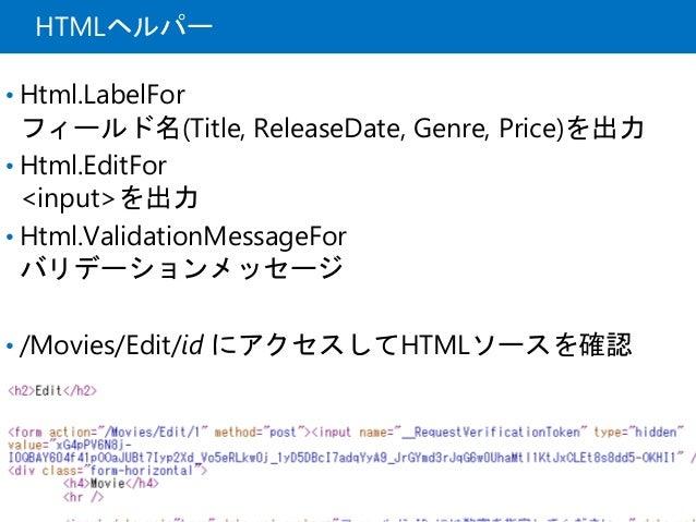 HTMLヘルパー • Html.LabelFor フィールド名(Title, ReleaseDate, Genre, Price)を出力 • Html.EditFor <input>を出力 • Html.ValidationMessageFor...