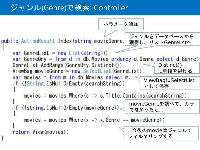 ジャンル(Genre)で検索: Controller パラメータ追加 ジャンルをデータベースから 獲得し、リストGenreLstへ Distinct() …重複を避ける ViewBagにSelectList として保存 movieGenreを調...