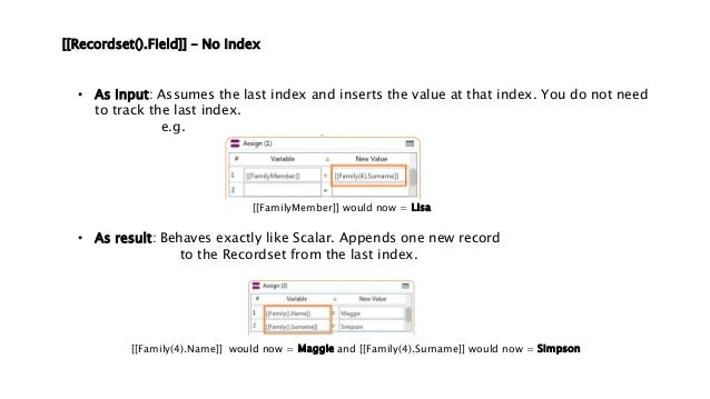 [[Recordset().Field]] – No Index • As input: Assumes the last index and inserts the value at that index. You do not need t...