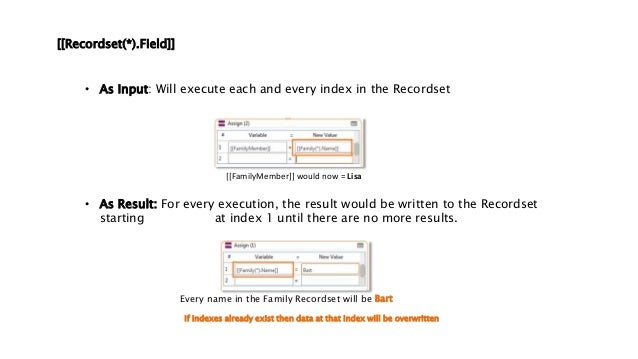 [[Recordset(*).Field]] • As Input: Will execute each and every index in the Recordset [[FamilyMember]] would now = Lisa • ...