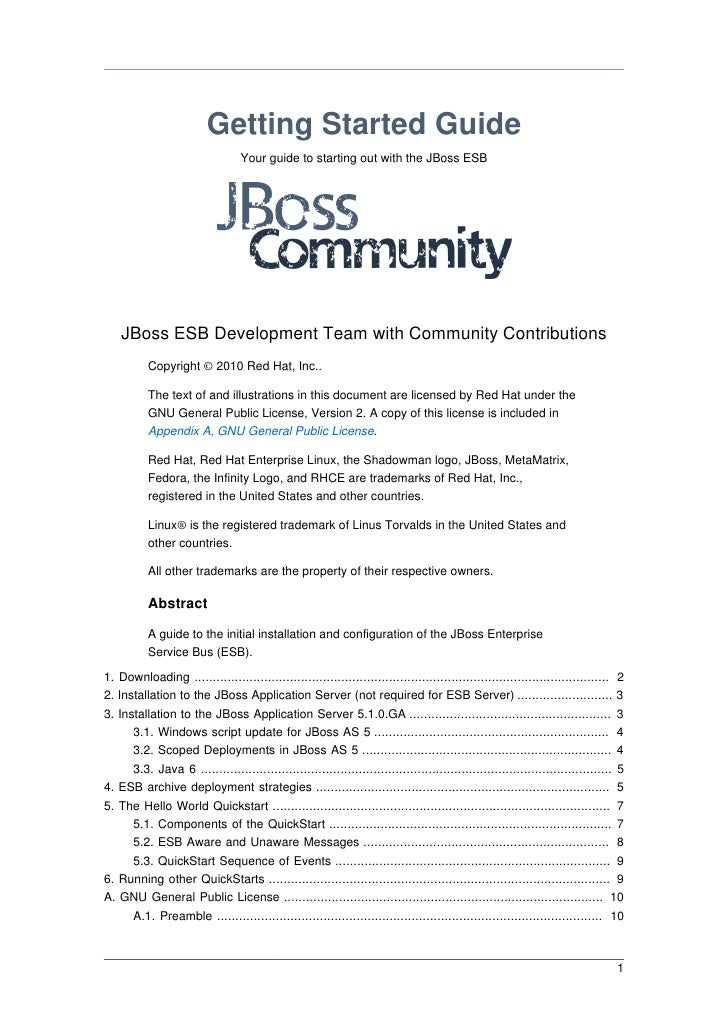 Getting Started Guide                                  Your guide to starting out with the JBoss ESB    JBoss ESB Developm...