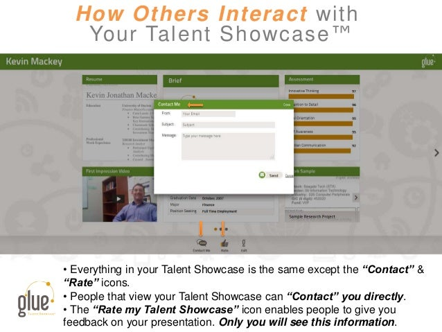 """How Others Interact with Your Talent Showcase™ • Everything in your Talent Showcase is the same except the """"Contact"""" & """"Ra..."""
