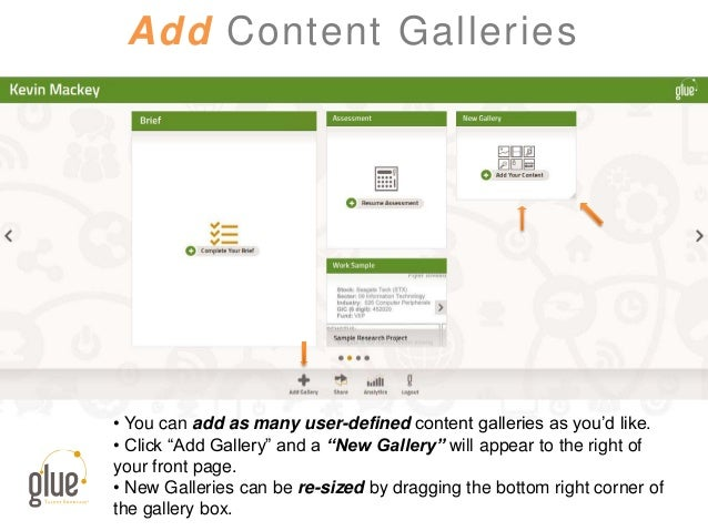 """Add Content Galleries • You can add as many user-defined content galleries as you'd like. • Click """"Add Gallery"""" and a """"New..."""