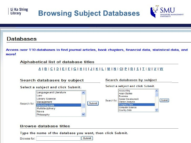 Browsing Subject Databases