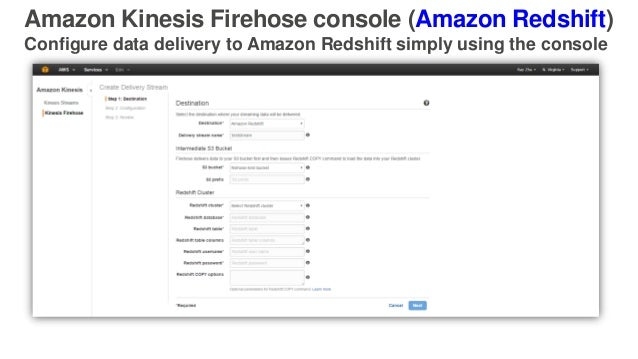 Amazon Kinesis Firehose console (Amazon Redshift) Configure data delivery to Amazon Redshift simply using the console