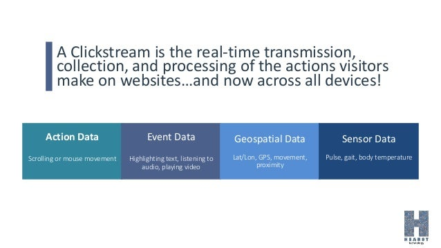 A Clickstream is the real-time transmission, collection, and processing of the actions visitors make on websites…and now a...