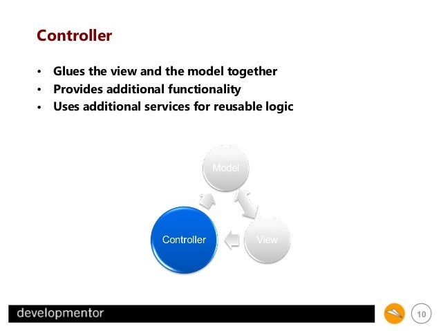 Controller • Glues the view and the model together • Provides additional functionality • Uses additional services for reus...