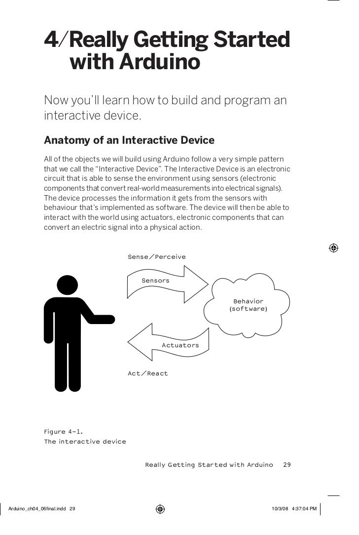 4/Really Getting Started  with ArduinoNow you'll learn how to build and program aninteractive device.Anatomy of an Interac...