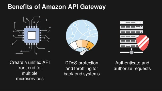 Benefits of Amazon API Gateway Create a unified API front end for multiple microservices DDoS protection and throttling fo...
