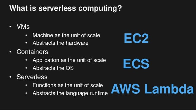 What is serverless computing? • VMs • Machine as the unit of scale • Abstracts the hardware • Containers • Application as ...