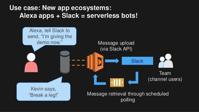 "Use case: New app ecosystems: Alexa apps + Slack = serverless bots! Alexa, tell Slack to send, ""I'm giving the demo now."" ..."