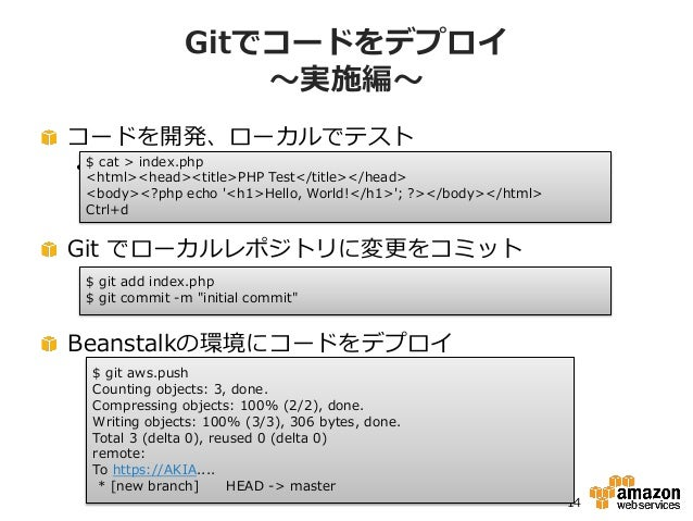Gitでコードをデプロイ                   ~実施編~コードを開発、ローカルでテスト• $ cat > index.php  <html><head><title>PHP Test</title></head> <body><...