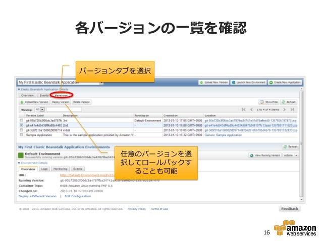 各バージョンの一覧を確認バージョンタブを選択     任意のバージョンを選     択してロールバックす       ることも可能                  16